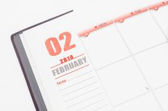 February calendar page. Royalty Free Stock Image