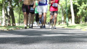 Close Up Of Feet As Group Of Runners Jog Through Park stock video footage