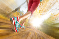 Close up of feet of female runner. Running in autumn leaves. Fitness exercise. Blur motion stock photos
