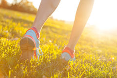 Close up of feet of female runner. Running in grass. Fitness exercise, low depth of focus royalty free stock photo