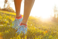 Close up of feet of female runner. Running in grass. Fitness exercise, low depth of focus stock photos