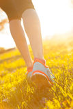 Close up of feet of female runner. Running in grass. Fitness exercise, low depth of focus royalty free stock images