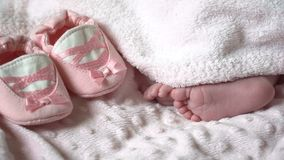 Close-up of feet of a newborn baby. Close-up of legs of a small child stock video footage