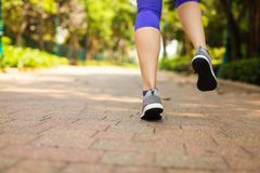 Close up of feet of runner running in park training for marathon and fitness healthy lifestyle. Selective focus royalty free stock photography