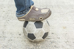 Close up of feet treading on soccer Royalty Free Stock Photography