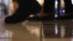 Close-up feet walking people in the mall stock video