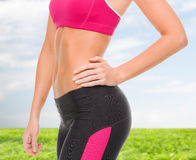 Close up of female abs in sportswear Royalty Free Stock Image