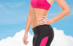 Close up of female abs in sportswear Royalty Free Stock Photography