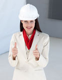 Close-up of a female architect with thumbs up Royalty Free Stock Photography