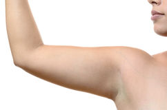 Close up on a female armpit and upper arm Royalty Free Stock Photography