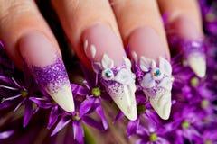 Close-up of female beuatifully manicured nails Royalty Free Stock Image