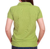 Close-up female with blank green polo shirt (back side) Royalty Free Stock Photography