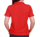 Close-up female with blank green polo shirt (back side) Stock Image