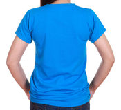Close-up female with blank t-shirt (back side) Royalty Free Stock Images