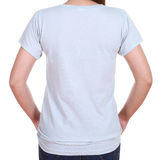 Close-up female with blank t-shirt (back side) Royalty Free Stock Photography