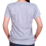 Close-up female with blank t-shirt (back side) Royalty Free Stock Photos