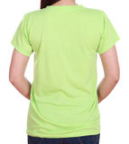 Close-up female with blank t-shirt (back side) Stock Photos