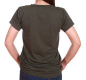 Close-up female with blank t-shirt (back side) Stock Photography
