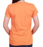 Close-up female with blank t-shirt (back side) Stock Images