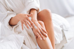 Close up of female body that doing massage Stock Image