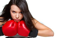 Close up of female boxer Stock Photo