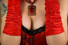Close-up of female breasts Stock Photos