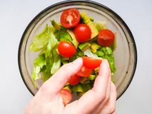 Close up of female chef hand putting Feta cheese cubes on greek vegan tomato salad with olives and lettuce leaves. The concept of stock photo