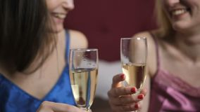 Close-up female couple celebrating anniversary. Close-up of young happy female couple celebrating anniversary together with champagne in home interior. Smiling stock video footage