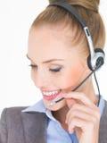 Close up Female Customer Service Operator on White Stock Photo