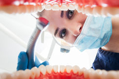 Close-up of female dentist looking inside patient mouth Royalty Free Stock Photos