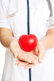 Close up female doctor holding heart model Royalty Free Stock Images