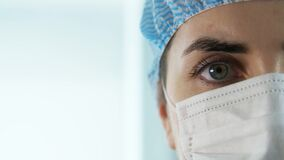 Close up of female doctor or nurse in face mask