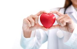 Close up of female doctor with red heart. Medical and Healthcare. Concept royalty free stock photos