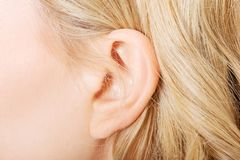 Close up on female ear Royalty Free Stock Image