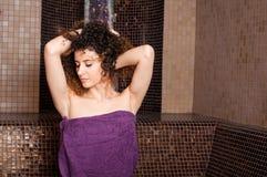Close-up of female enjoying a turkish steam bath Stock Image