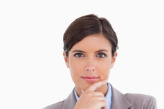 Close up of female entrepreneur in thinkers pose Royalty Free Stock Photo