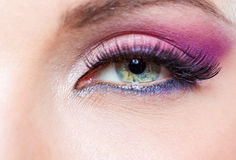 Close up of female eye with bright pink make-up Royalty Free Stock Photos