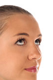 Close up of female face on white background Stock Images