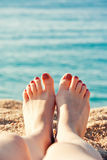 Close up female feet Royalty Free Stock Photography