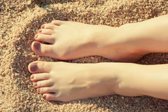 Close up female feet Royalty Free Stock Images