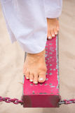 Close up Female feet balancing outdoor Stock Images
