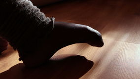 Close up of a female feet doing exercises indoors Royalty Free Stock Image