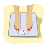 Close up of female feet standing on weight scale. Concept of weight loss, healthy lifestyles, diet, proper nutrition. Stock Images