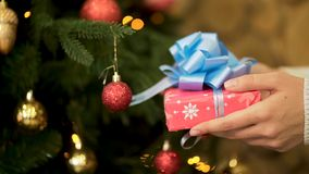 Close up for female hand holding Christmas present in red wrapping paper with big, blue ribbon. Woman hand with stock photo