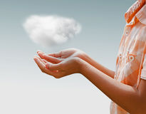 close up of female hand holding cloud Stock Photography