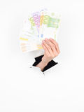 Female hand holding euros Stock Photography