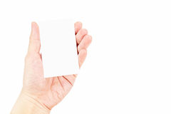 Close up Female hand holding white blank business card isolated Stock Image