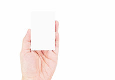 Close up Female hand holding white blank business card isolated Stock Photos