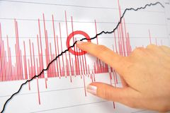 Close up of a female hand pointing finger on a white chart Stock Images