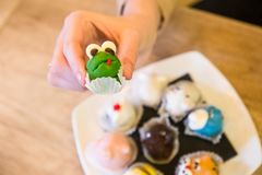 Close up of female hand who holding cake in shape frog, in back stock photos